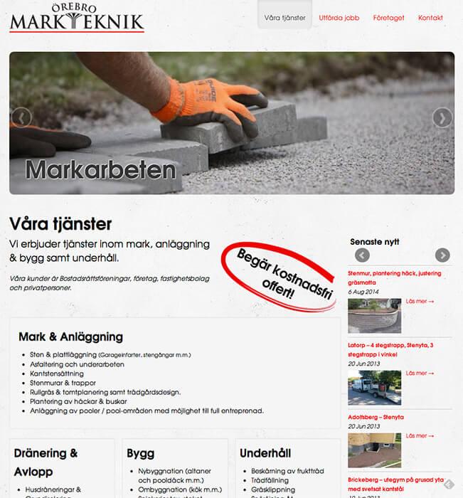 Örebro Markteknik - Mobilanpassad hemsida i WordPress
